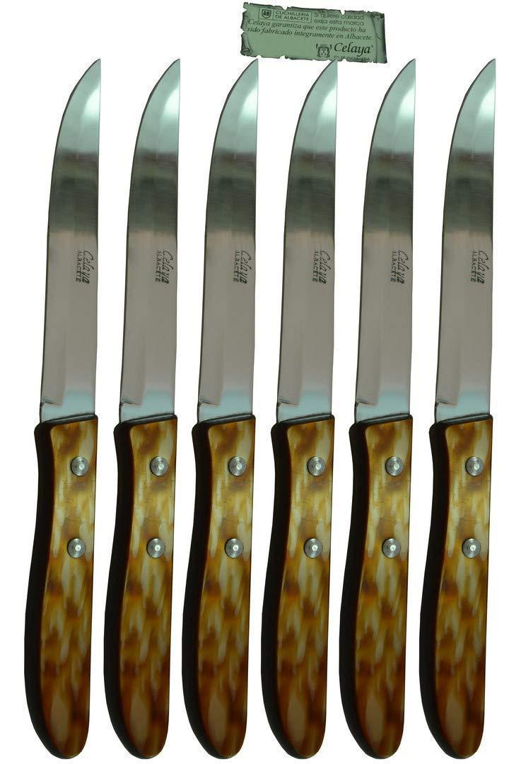 Cuchillos de mesa Celaya Plástico Nácar Marrón Filo Lote 6 ...