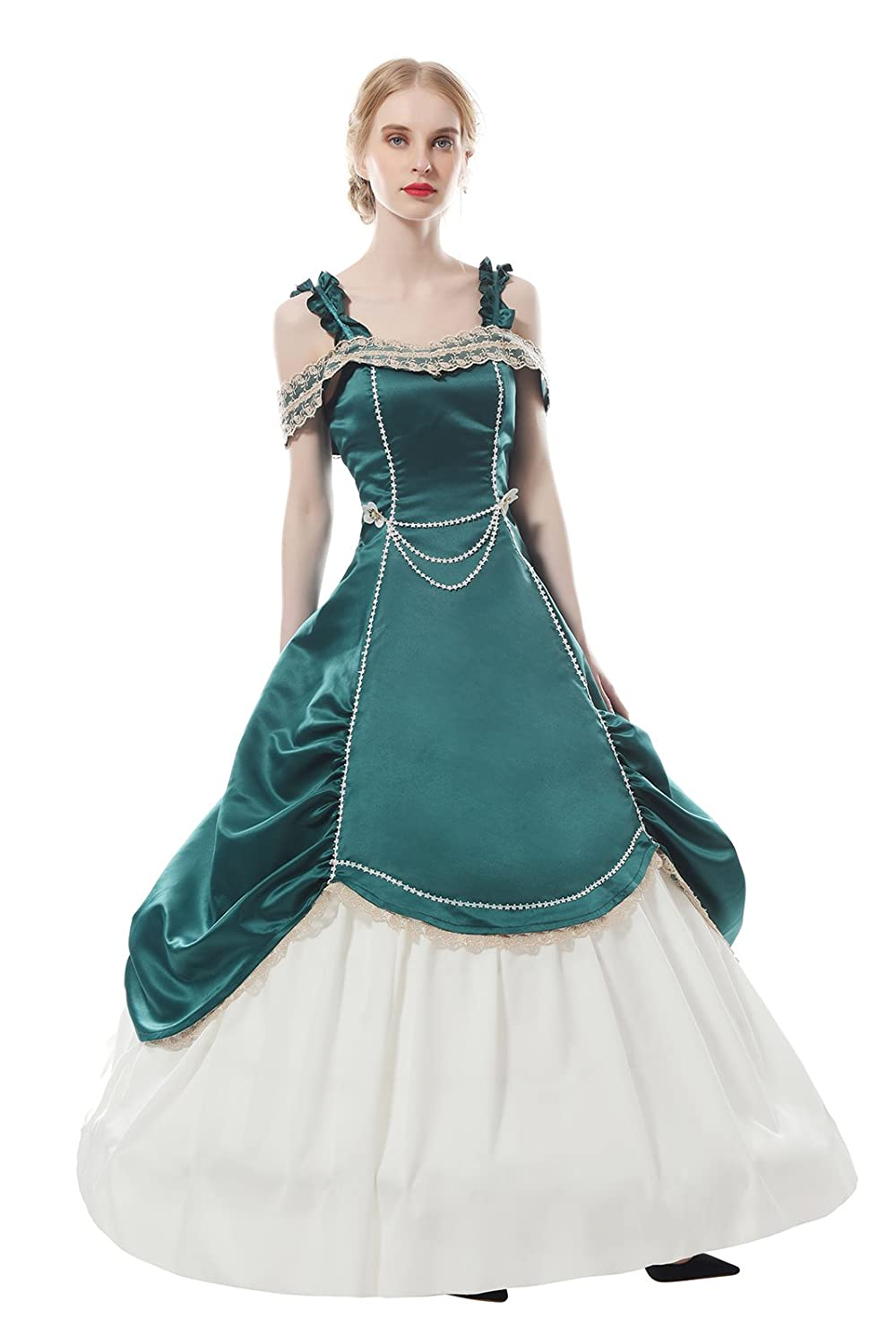 Amazon.com: ROLECOS Womens Retro Off Shoulder Masquerade Ball Gown ...