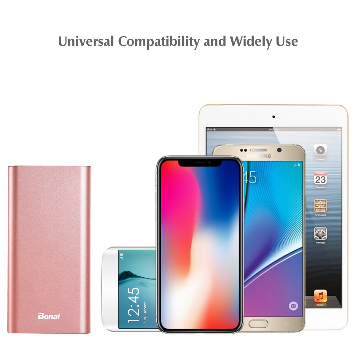 iPhone Charger, Bonai Portable Charger 20000mAh, Aluminum Polymer External Battery Pack 4.0A Max Lightning & Mirco Input 4-Port Output for iPhone 7 7 plus 6s 8 Galaxy S8 S7 Note 8 & Tablet -Rose Gold by Bonai (Image #8)