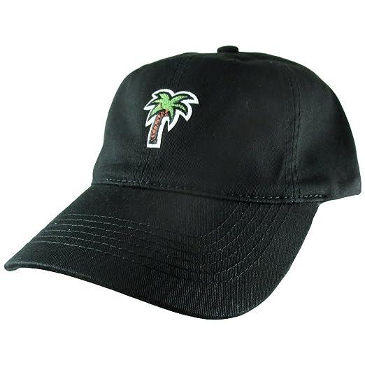 53dc85ccdc Amazon.com: AffinityAddOns Palm Tree Dad Hat, Black Baseball Cap ...