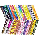 R ? HORSE 30 PCs Slap Bracelets Party Favors Pack (24 Designs Slap Bracelets + 6 Mermaid Bracelets) with Colorful Hearts Animal Emoji for Easter Birthday Party Favors