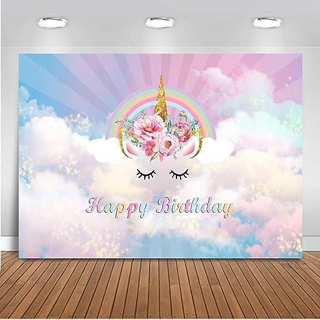 Mehofoto cumpleaños Unicornio Flor telón de Fondo 7x5ft Vinilo Arco Iris Unicornio niños decoración del Partido telones de Fondo de la Foto Bandera ...