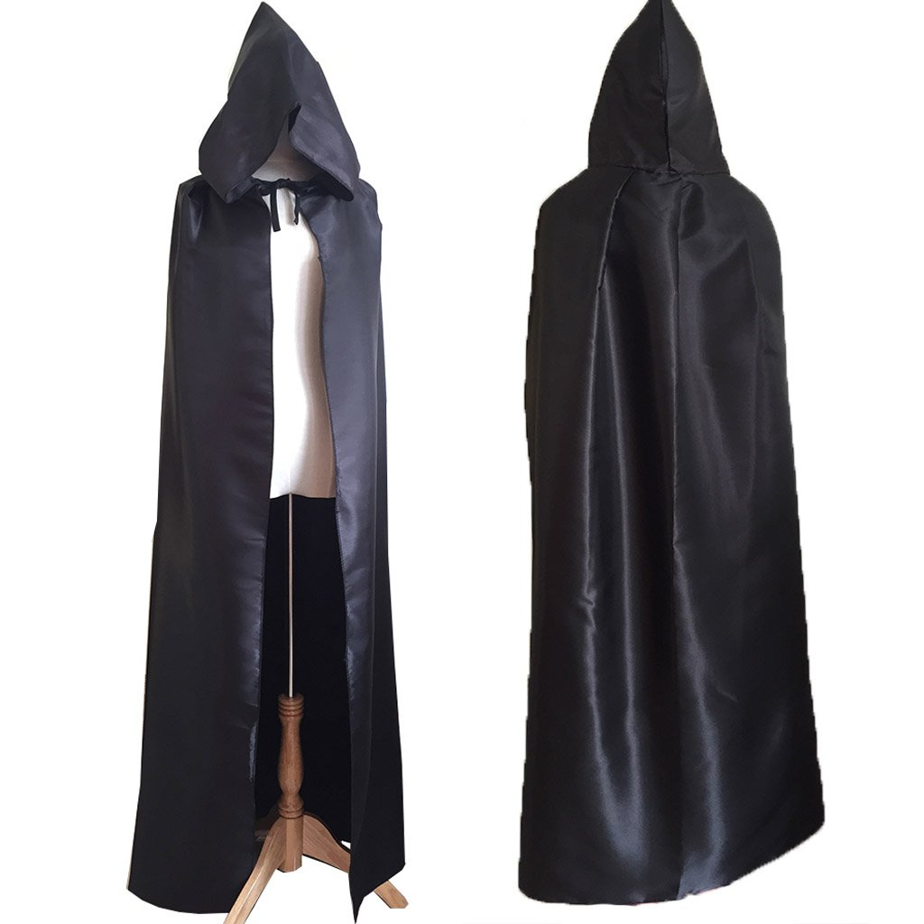 Charming House Halloween Unisex Hooded Long Cape Cloak Cosplay Costume (Black) by Charming House (Image #2)