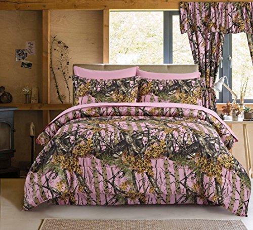 Regal Comfort The Woods Pink Camouflage King 4 Piece Premium Luxury Comforter, Bed Skirt, and 2 Pillow Shams Set - Camo Bedding Set For Hunters Cabin or Rustic Lodge Teens Boys and (2 Free Shams King Quilts)