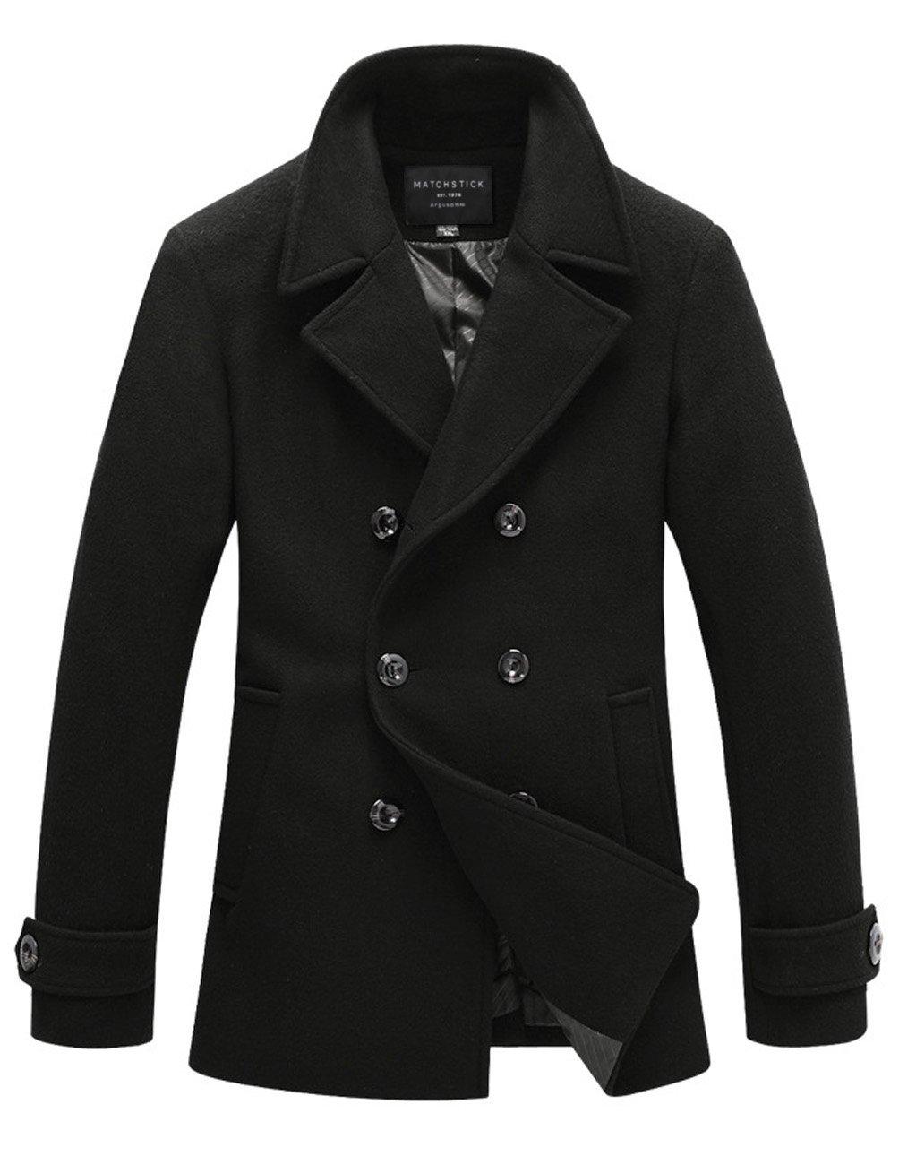 Match Mens Wool Blend Classic Pea Coat Winter Coats (010 Black, Medium) by Match