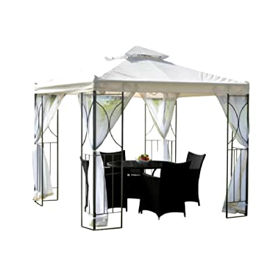 Free Standing Permanent Gazebo 8 Ft W x 8 Ft D Privacy Netting Included Aluminum Steel - Skroutz Deals : Garden & Outdoor