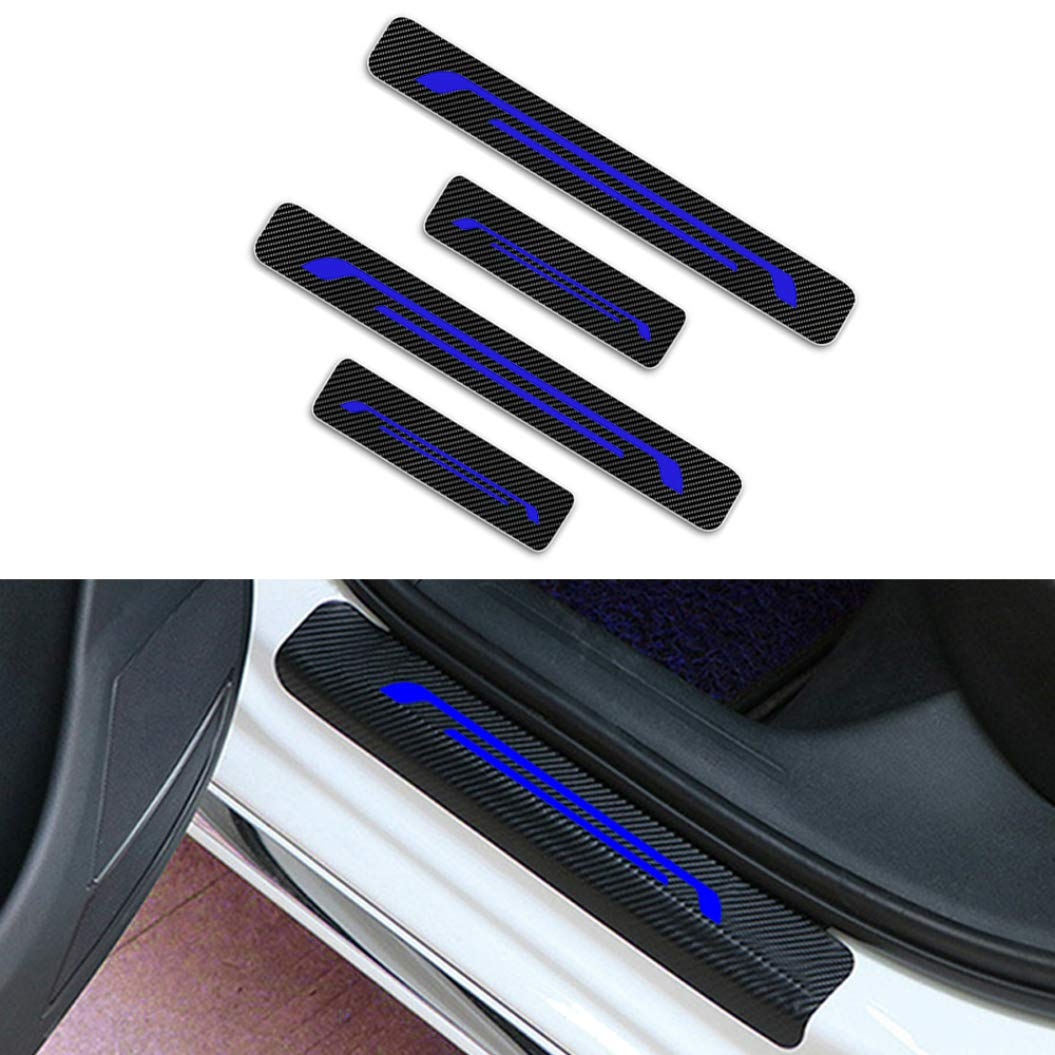 For suzuki alto celerio s cross jimny sx4 vitara swift door sill protector reflective 4d carbon fiber sticker door entry guard door sill scuff plate