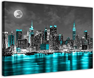 Wall Decor for Bedroom Black and White Canvas Wall Art Paintings Pictures New York Artwork for Home Walls Office Teal Sea City Led Frame Decoration(12''x16''x1pcs, Teal City)