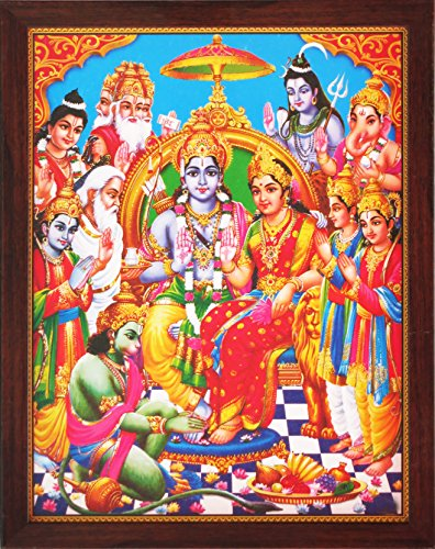 Sita Ram and Hanuman Sitting in Palace and Other Hindu Religious God Giving Blessing, a Holy Religious Poster Painting with Frame for Hindu Religiousd and Gift Purpose by HandicraftStore