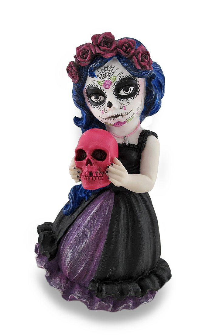 Veronese Design Cosplay Kids Mini Day of Dead Girl Holding Skull Statue