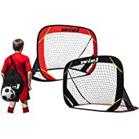 Wiel Pop Up Soccer Goals, Set of 2 Portable Kids Soccer Nets for Backyard Training and Team Game, 48x32 Inches Foldable…