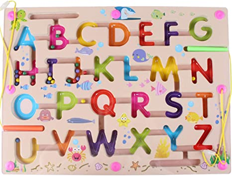 Gobus Perlas de Madera Laberinto niños Educativo Juego de Mesa Laberinto Rompecabezas Juguetes (Alfabeto ABC Letra Palabra): Amazon.es: Juguetes y juegos