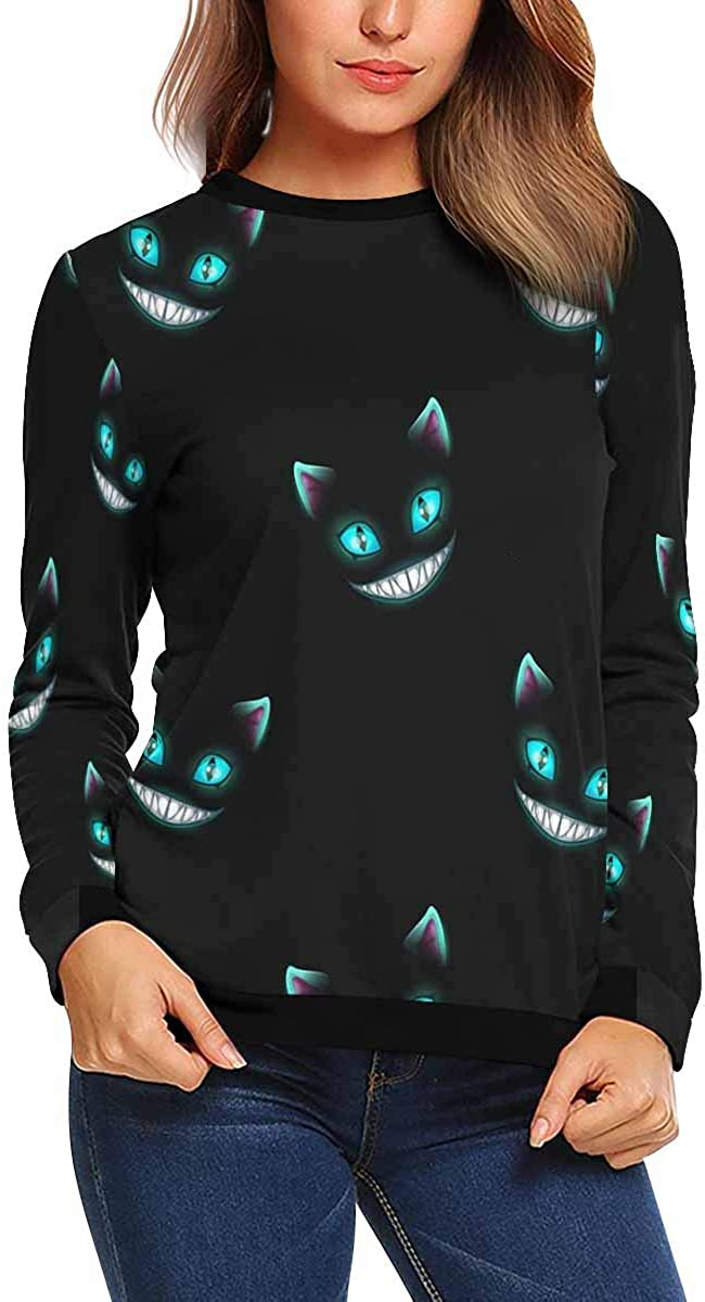 XS-XL INTERESTPRINT Womens Crew Neck Long Sleeve Sweatshirt Cat Faces Black Lightweight Pullover Tops