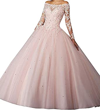 e502bd03c36f1 Long Sleeves Prom Dresses 2019 Off The Shoulder Quinceanera Sweet 16 Ball  Gown BD559 Pink