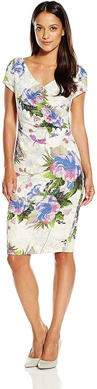 Adrianna Papell Womens Petite Short Sleeve V-Neck Dress with Beads