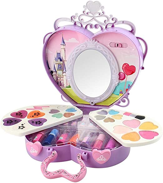 circulor 39PCS Set De Maquillaje Maquillaje para Niñas, LED Estuche Cosmético Portátil Brillante Set De Maquillaje Lavable para Niños Seguro Y No Tóxico: Amazon.es: Hogar