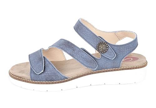 Donde comprar entrega rápida super popular CARI FALCÓ - Cómoda Sandalia Mujer con Plantillas extraibles. Color Azul.  Es Ideal para pies con Anchos Especiales y pies delicados. 00015