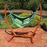 Sunnydaze Hanging Hammock Chair Swing with Sturdy Space-Saving Wooden Stand for Indoor or Outdoor Use, Ocean Breeze For Sale