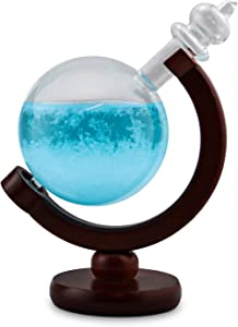 Globe Storm Glass Weather Station with Wood Base - Home Decor in Shape of Globe for Desktop, Desks, Shelf and Tables - Creative Temperature Gauge Gifts