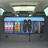 Ocamo Car Trunk Back Seat Organizer Bag SUV Net Mesh Storage Stowing Tidying Folding Pockets Navy Blue 9036cm