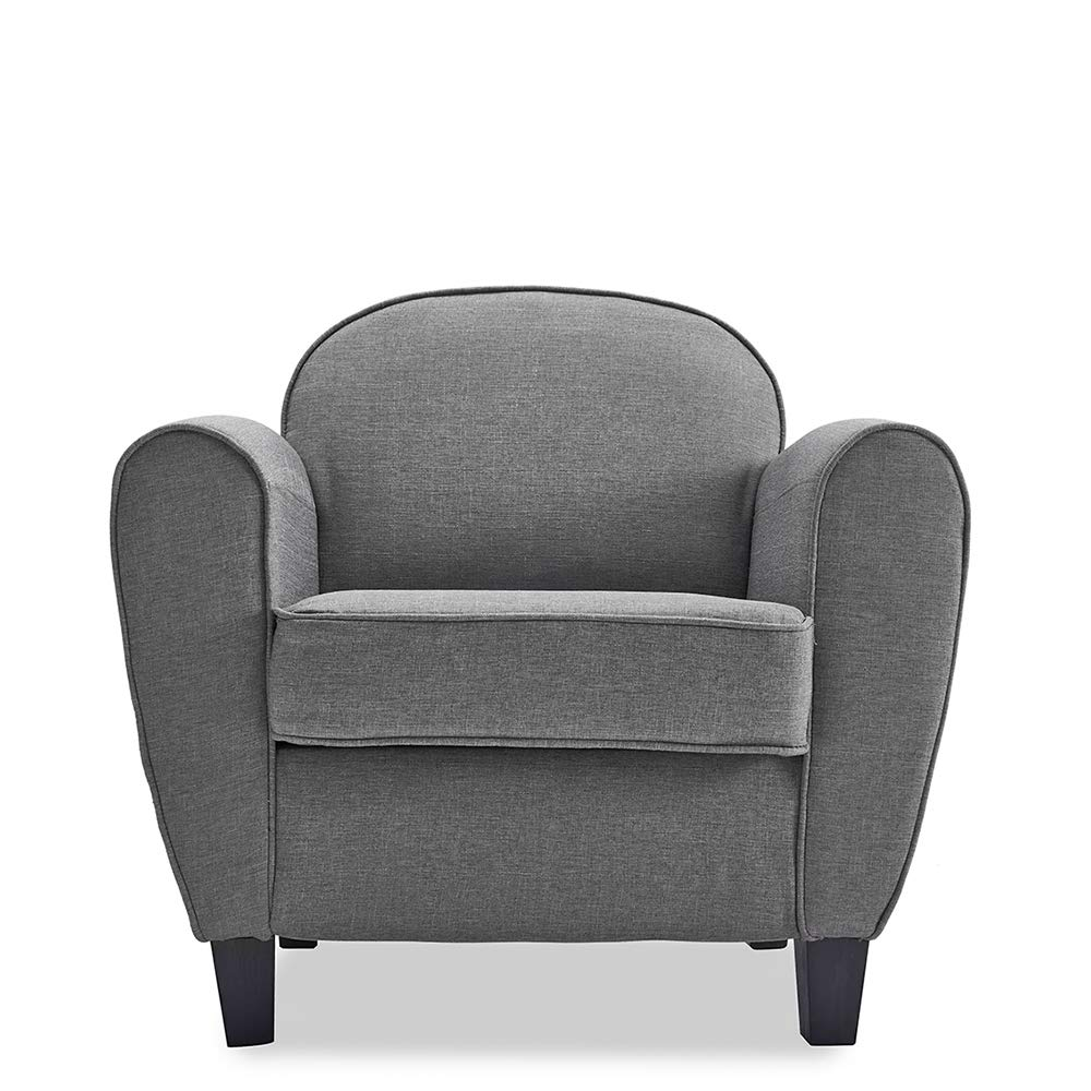Grey Modern Linen Fabric Tub Chair Armchair Sofa Accent Chair Living Room Lounge Occasional Chair Lamshine