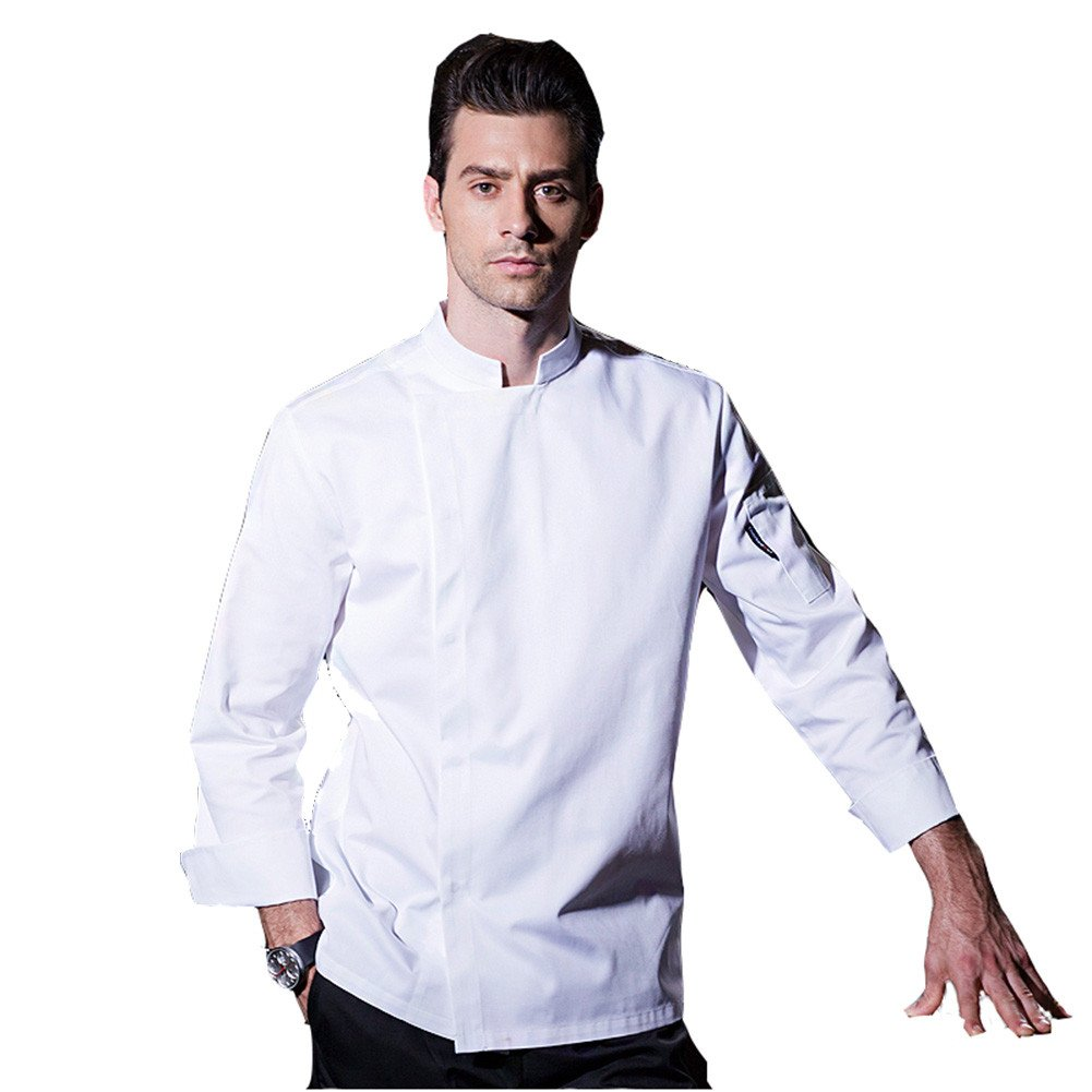 ChefsUniforms Long Sleeve Chef Coat with Concealed snap Front Placket in White Black and Grey by ChefsUniforms