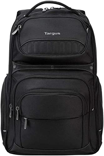 Targus Legend IQ Backpack Laptop bag for Business Professional and College Student with Durable Material, Pockets Throughout, Headphone Cord Pocket, Trolley Strap, Fits 16-Inch Laptop, Black TSB705US