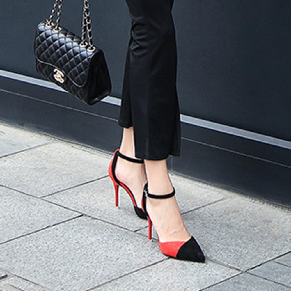 Sommer Frauen Spitze Pumps Mode Schuhe Mit Hohen Absätzen Mode Pumps Wort Tasten Farbeblock Ferse Sandalen Für Dame Mädchen Professionelle Büro Bankett ROT 1c6e3e