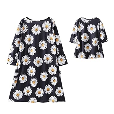 9607f3aee1 Norbi Parent-Child Chrysanthemum Printed Shirt Dress Family Clothes Outfits, Child 90 0-