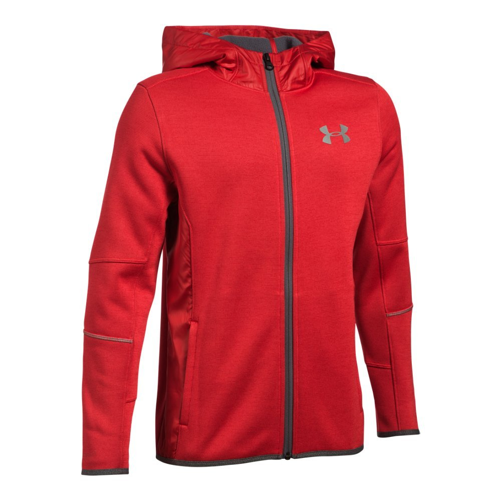 Under Armour Boys' Swacket FZ, Red/Silver, Youth X-Small