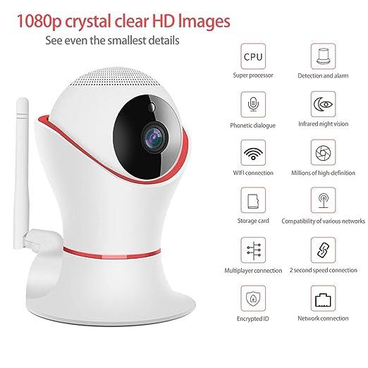 PETCUTE IP Cámara de Seguridad, cámara Web de vigilancia en Interiores CCTV, cámara WiFi inalámbrica, visión Nocturna, niñera/Monitor de bebés/Mascotas: ...