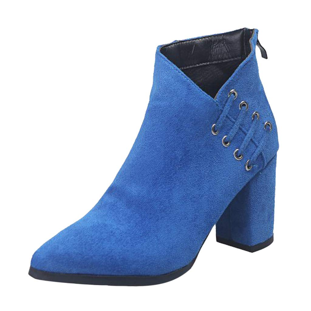 Kauneus Womens Chunky High Heel Pointed Toe Ankle Boot Faux Suede Zipper Roman Short Boot Solid Fashion Boots Blue by Kauneus Fashion Shoes