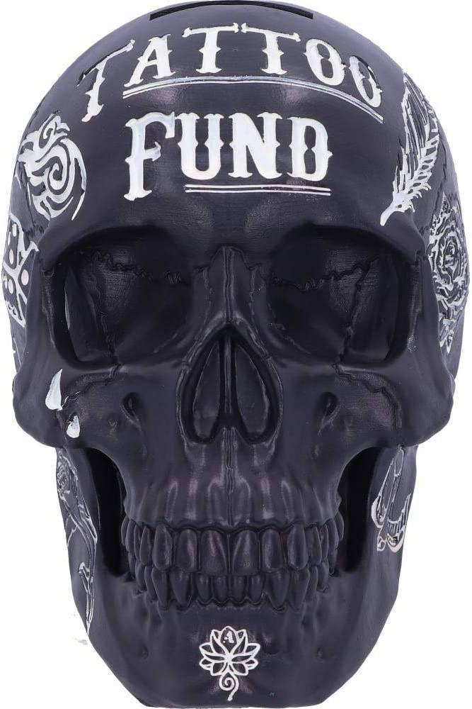 Stile Tribale 15cm Salvadanaio a Forma di Teschio Nemesis Now Pink Traditional Tattoo Fund Skull Money Box 15 cm Colore: Rosa