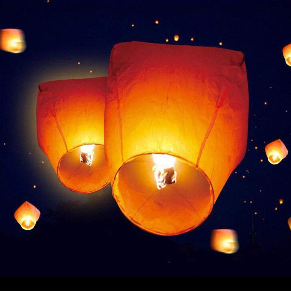 Chinese Lanterns, 50PCS Orange Sky Flying Paper Kongming Floating Lanterns Oval Shape Wishing Lantern for Birthday Wedding Party(USA Stock)