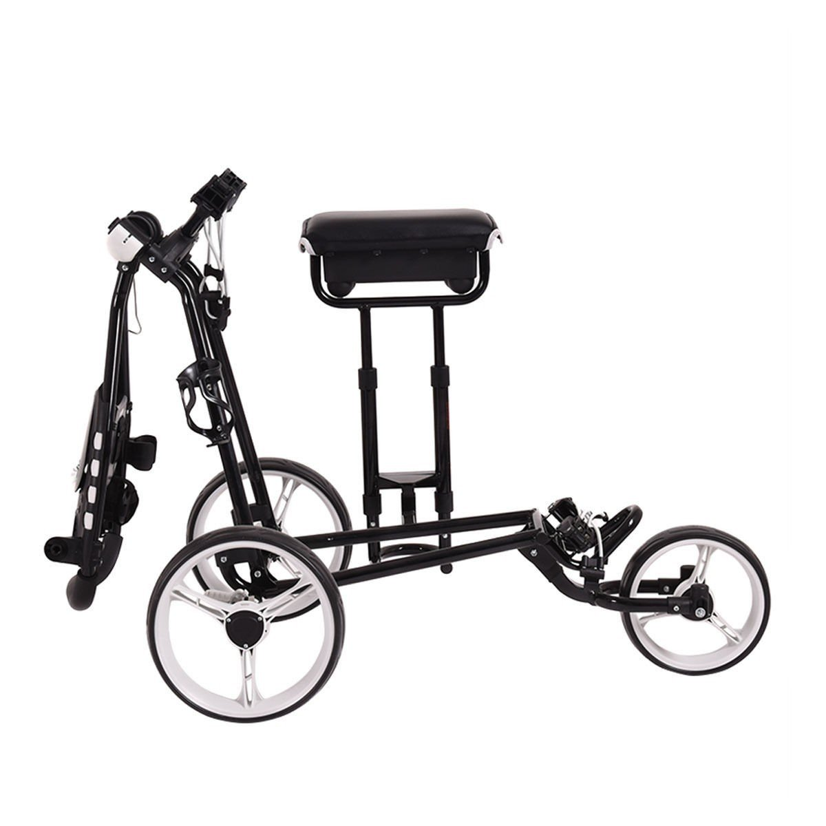 Foldable 3 Wheels Push Pull Golf Club Cart Trolley w/ Stool by Apontus