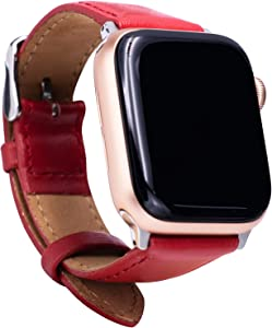 Leather Bands Compatible with Apple Watch 38mm 40mm Top Grain Leather Wristband Red Leather Vintage Strap with Silver Buckle iWatch Series 6/5/4/3/2/1
