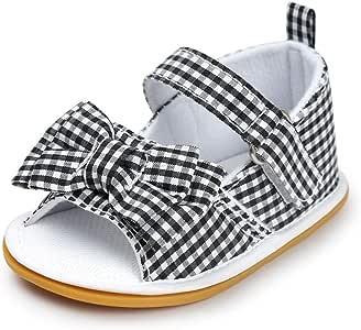 Meckior Baby Girls Premium Soft Rubber Sole Anti-Slip Summer Shoes Infant Baby Prewalker Toddler Sandals. (13cm(12-18months), H-Black)