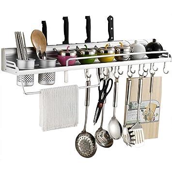 Smart vida Helper – Cocina de colgar en la pared de aluminio multifuncional Rack con estantes
