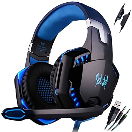 Mictech G2000 Professional 3.5mm PC LED Light Gaming Bass Stereo Noise Isolation Over-ear Headset Headphone Earphones for laptop Computer with MIC Blue