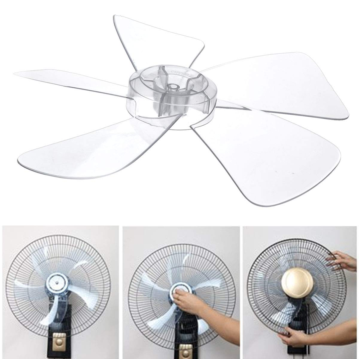 CHICTRY 16 Inch Fan Blade 5 Leaves Plastic White Fan Blade Replacement for Household Standing Pedestal Fan Table Fanner General Accessories Clear One Size