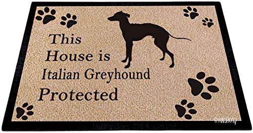 MALIHONG Dog Silhouette DoorFloor Mat This House is Italian Greyhound Protected Floor Mat Dog Paw Print Wheat Rugs for Home Decor 35.4 x 23.6 Inch