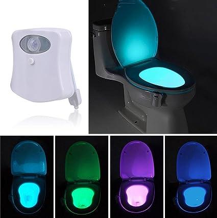 Tapa de inodoro con luz nocturna LED, lámpara con sensor de movimiento, alimentada por