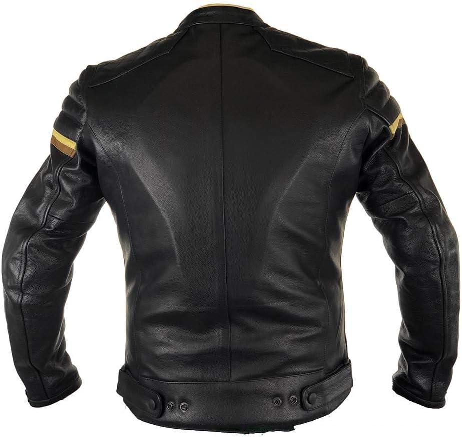 Agas Bikewear Blouson de moto en cuir avec coutures diamant/ées blind/é CE