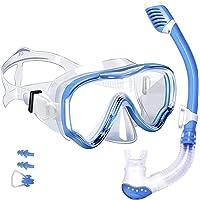 Powsure Kids Snorkel Set- Dry Top Seaview Snorkel Mask with Big Eyes Anti- Fog Tempered Glass for Children, Boys, Girls…