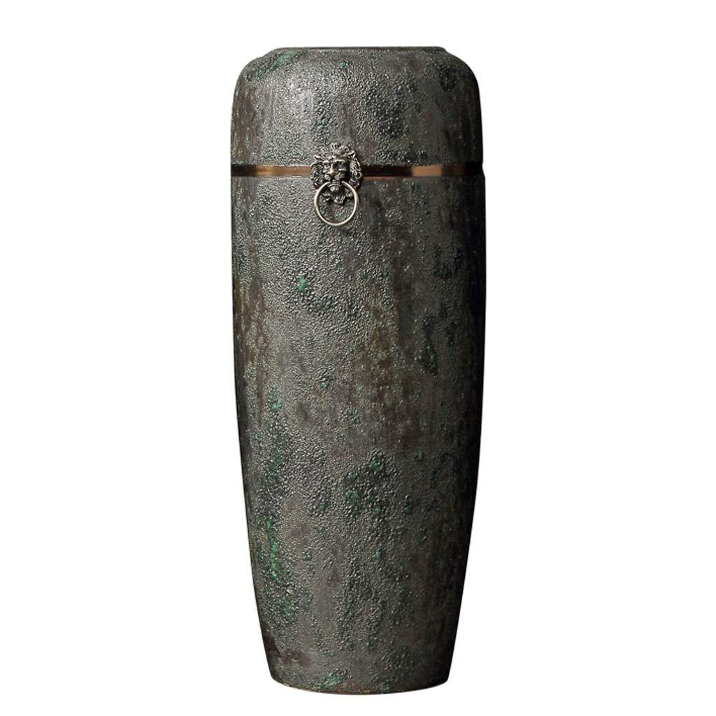 シックな花瓶 Jialeセラミックヨーロッパの花瓶 - HJBHホームレトロフロア花瓶オフィス大きな花の装飾装飾装飾(サイズ:8.26x4.52x24.40インチ) 写真シックな花瓶シリンダー花瓶、装飾用花瓶 B07S8X1G5N
