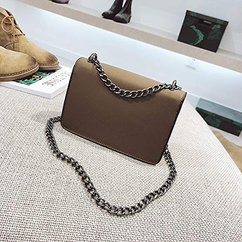 Handbag dimensional 2018 Caqui hlh Faucet Square Three Bag Small gris Metal Chain Single Double Diagonal Mobile Shoulder Claro Oq5BwqT