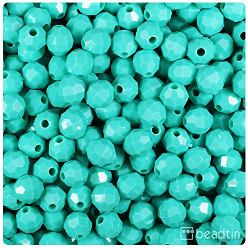 (BeadTin Light Turquoise Opaque 8mm Faceted Round Craft Beads (450pcs))