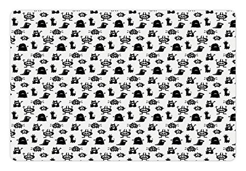 Ambesonne Alien Pet Mat for Food and Water, Monochrome Monster Silhouettes Childish Drawings of Otherworldly Beings Halloween, Rectangle Non-Slip Rubber Mat for Dogs and Cats, Black White -