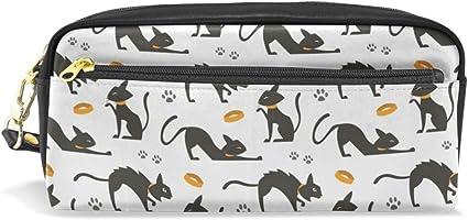 Estuche de cuero para lápices, con bolsa de papelería negra para gatos: Amazon.es: Oficina y papelería