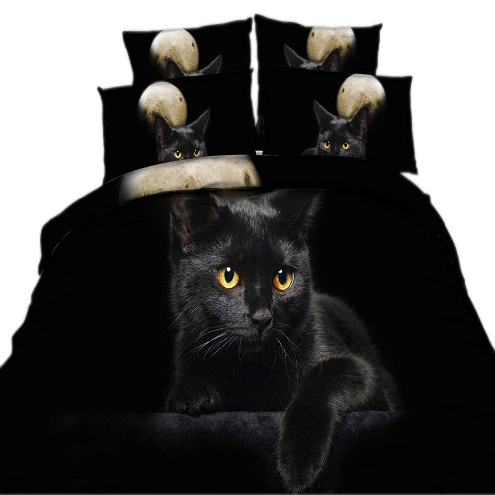 EsyDream 3D Oil Painting Black Cat Kids Love Bedding Sets 4PC,100% Cotton Queen Size Black Cat Boys Duvet Covet,Full/Queen Size (4PC/Set)